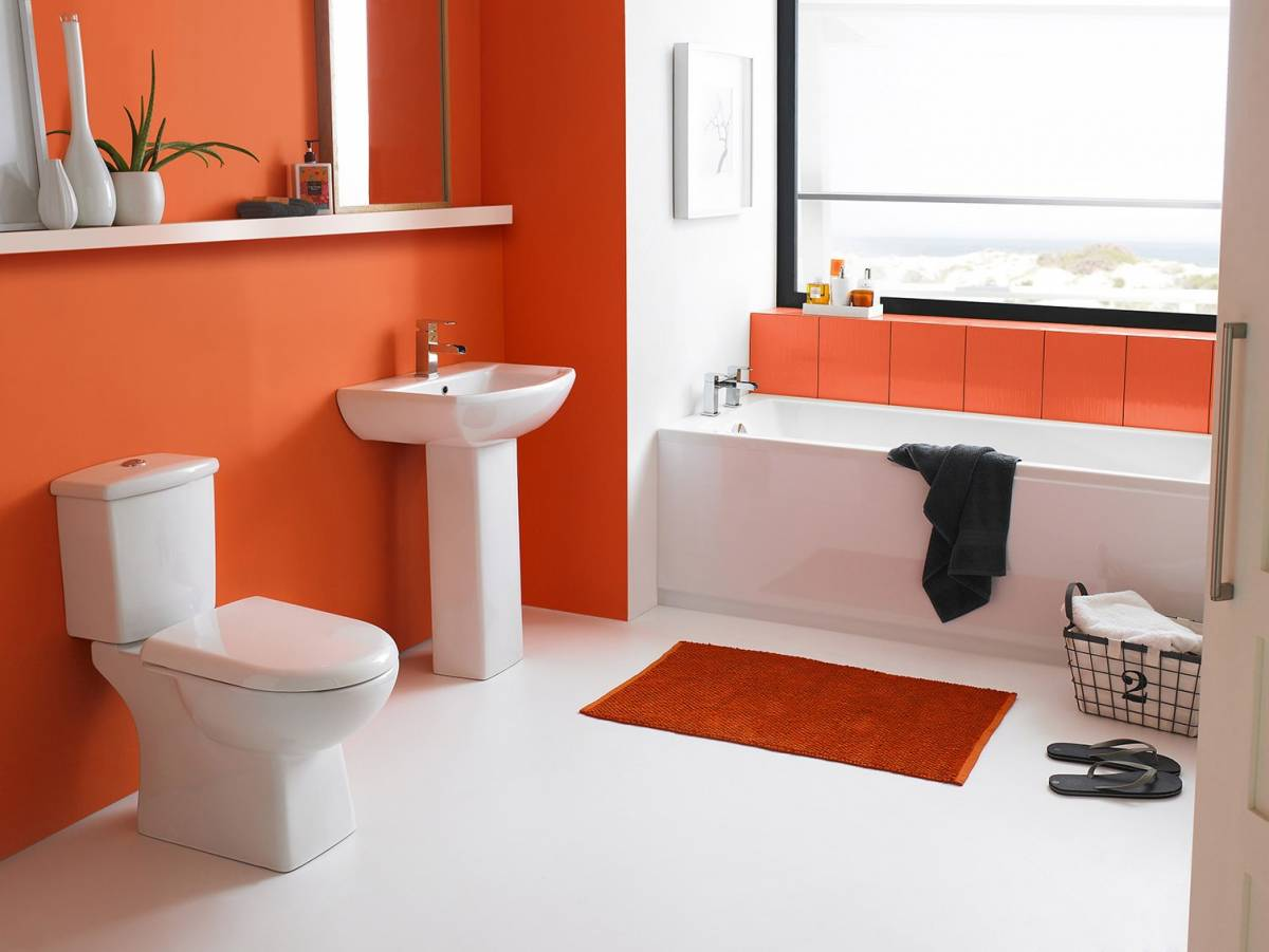 Image result for orange and white bathroom